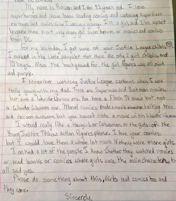 Rowan Hansen female superheroes:  Girl Pleads For More Female Superheroes (PHOTO)