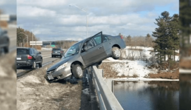 Teen's Car teeters Bridge:  You Wont Belive Where This Car Stopped