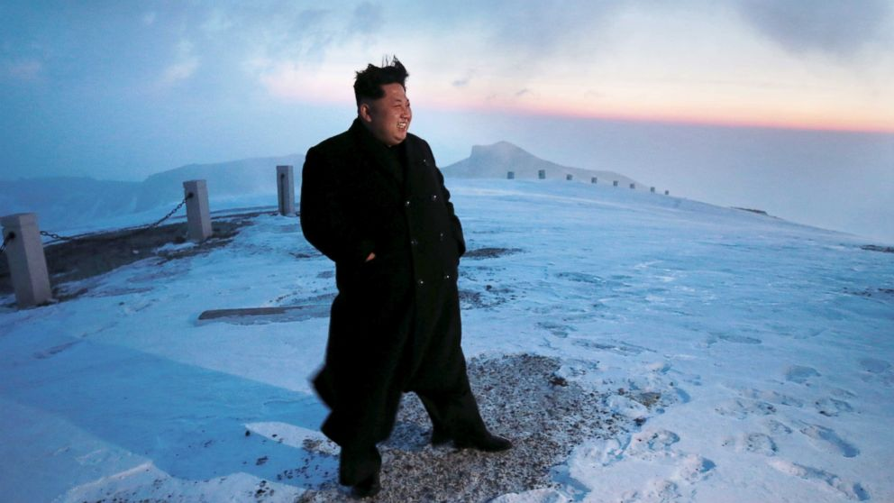 PHOTO: Kim Jong Un is seen atop Mt. Paektu in North Korea, in images released by state media April 19, 2015.