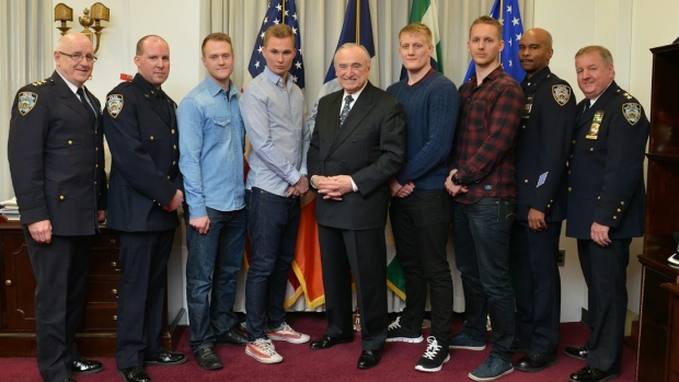Four Swedish Police Officers pose with NYPD Commissioner Bill Bratton who recognized their efforts in helping break up a fight on a Manhattan subway train Wednesday night (NYPD)