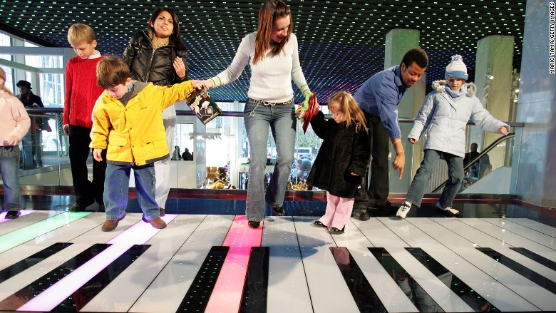 """FAO Schwarz is a popular attraction for many families that visit the Big Apple. Its giant keyboard, which must be played with your feet, often draws lines. (Tom Hanks played Chopsticks on it in the movie """"Big."""")"""