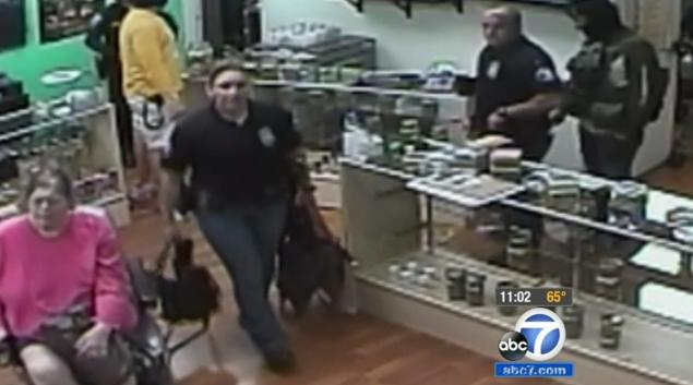 """Cops escort Marla James out of the pot shop, and later one officer is caught on camera joking about how she wanted to kick James in her 'f---ing nub."""""""