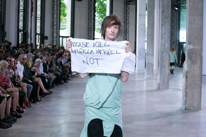 rick owens model protest of Angela Merkel