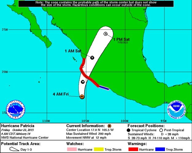 The storm prompted a hurricane warning for parts of the Mexican coast, including the area around the town of San Blas, about 170 miles south of the tourist mecca of Mazatlán. A hurricane watch and a tropical storm watch were also in effect in the region.