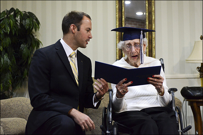 97 year old receives diploma