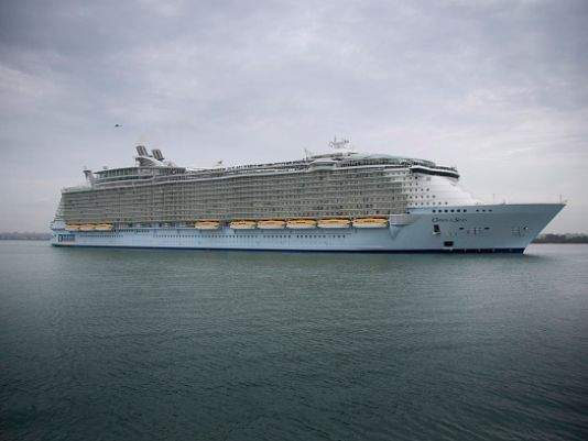 The world's largest cruise ship 'Oasis of the Seas' arrives in Southampton Water on October 15, 2014 in Southampton, England. The £800 million Royal Caribbean cruise ship will dock into Southampton for a one day stay stop before departing for the US. (Photo by Matt Cardy/Getty Images) (Photo: Matt Cardy, Getty Images)