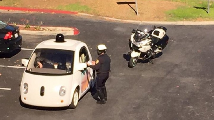 Self-driving car pulled over