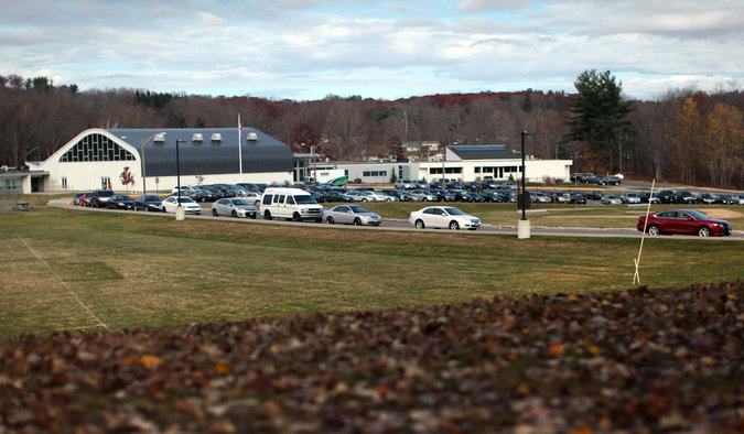 Litchfield High School in Connecticut. Two sophomores were arrested after being accused of dressing like the Columbine school killers and threatening other students at a Halloween party.