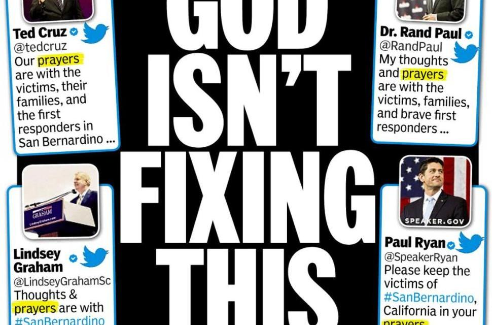 "NY Daily News cover Reads ""God Isn't Fixing This."""