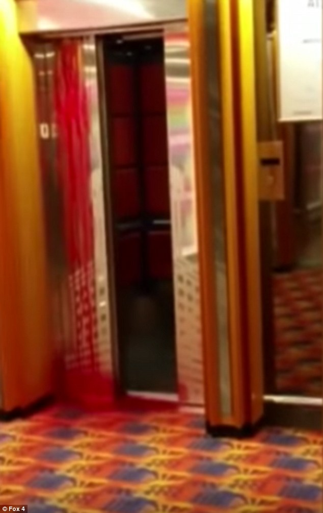 Horror: Passenger Matt Davis filmed the horrifying moment blood began pouring down the outside of an elevator on the Carnival Ecstacy cruise ship, which was on the final leg of a three day trip from Miami