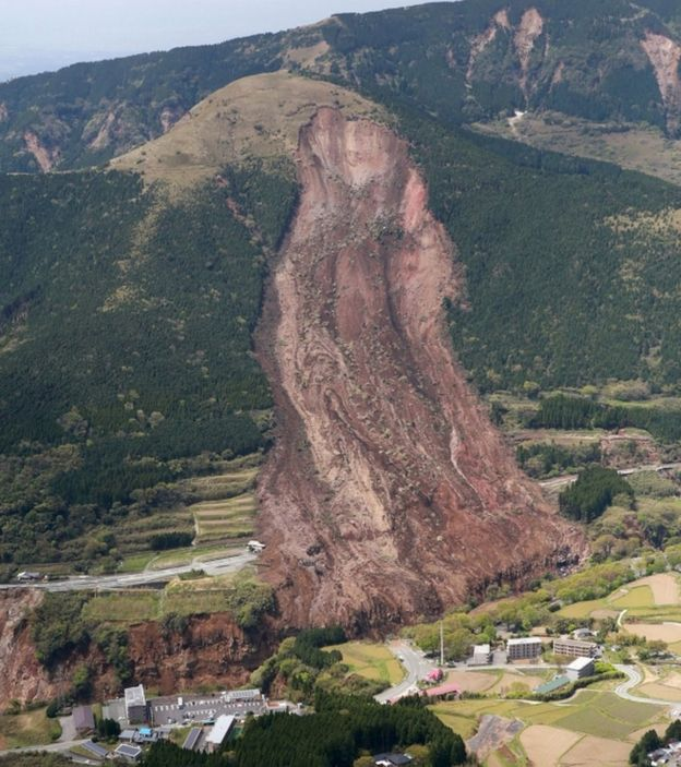 A landslide in Mimami-Aso, Kumamoto prefecture. The fear is that rainfall over the weekend will trigger more mudslides