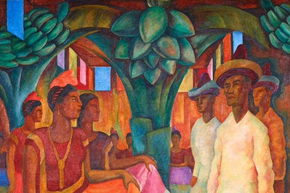 "This undated photo provided by the Phillips Auction House shows Diego Rivera's ""Baile en Tehuantepec."" Phillips Auction House says that the painting that has sold privately for $15,7 million dollars sets a world record price for any work of Latin American art. The figure nearly duplicates the previous record of Latin American art set for Frida Kahlo's ""Dos desnudos en el bosque,"" which sold for more than $8 million dollars at a Sotheby's public auction on May 12, 2016.. (2016 Banco de Mexico Diego Rivera Frida Kahlo Museums Trust, Mexico, D.F. / Artists Rights Society (ARS), New York. Phillips Auction House via AP) THE ASSOCIATED PRESS"