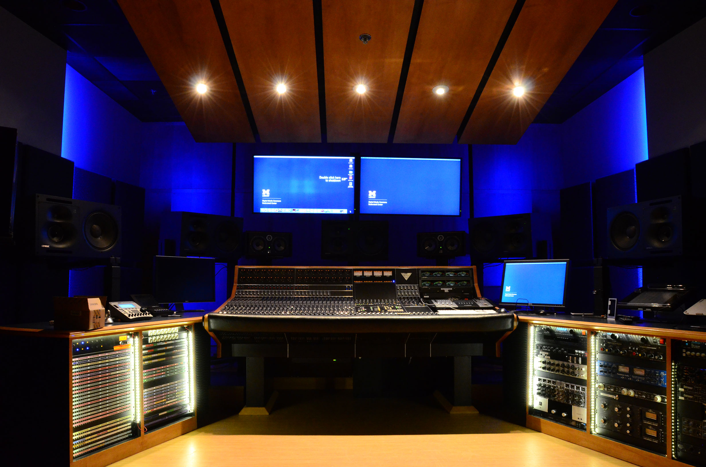 The control console and other equipment in Audio Studio B