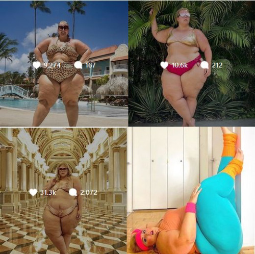 Morbidly obese feminist poses in bikini in Times Square, then complains of being objectified