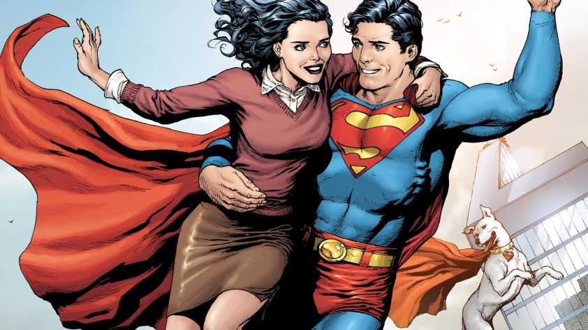 Superman flies with Lois in his arms as Krypto follows them.