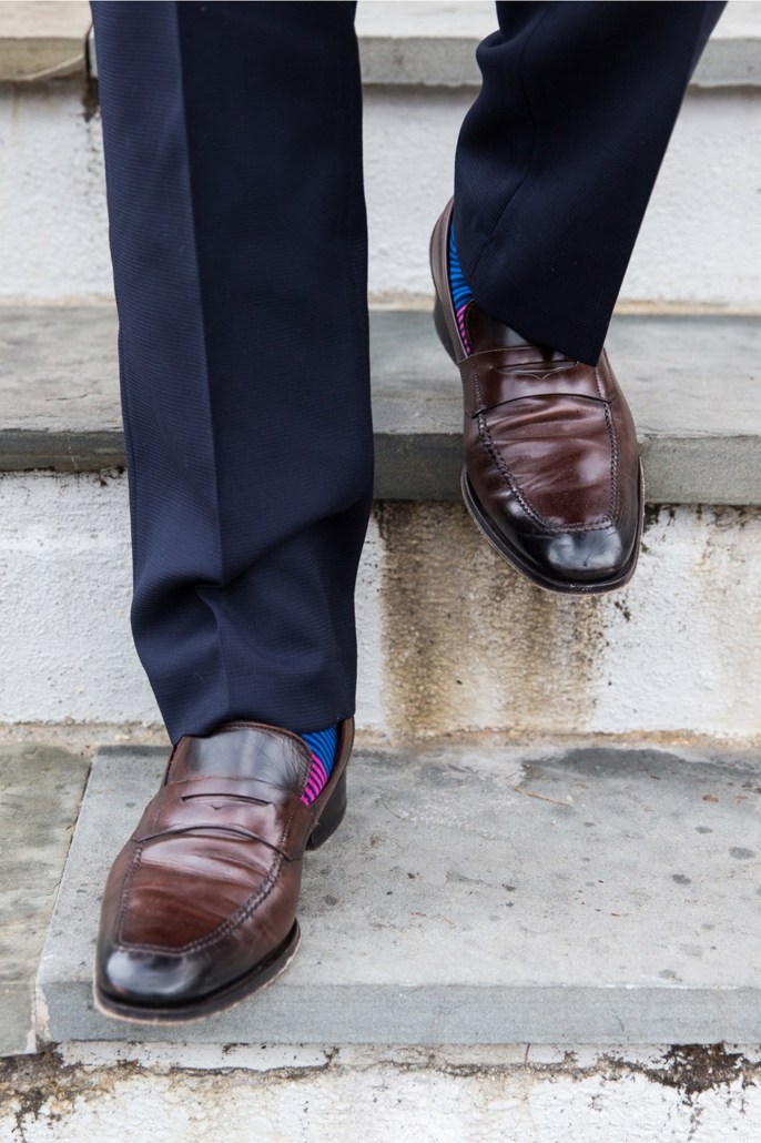 Business ready loafer on steps to boot