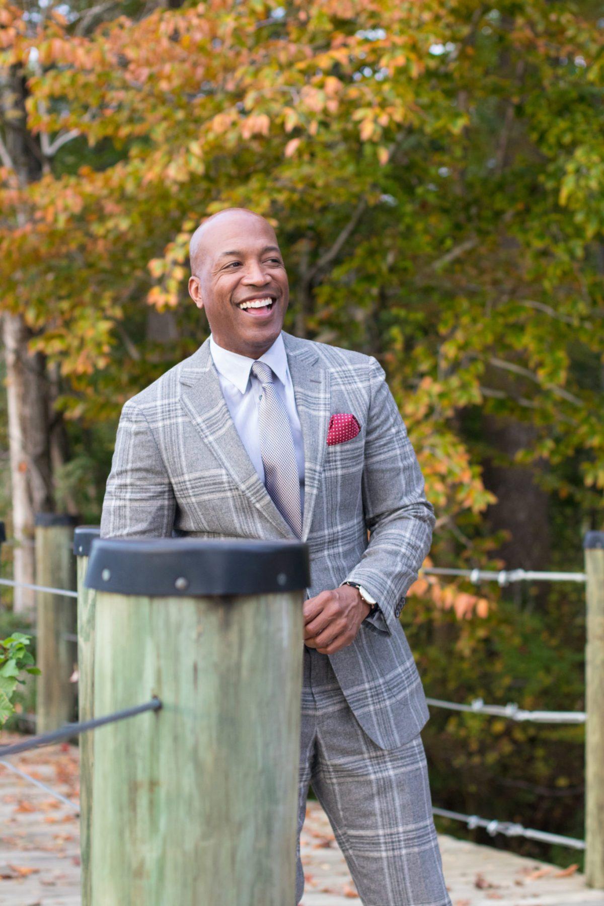 Plaid suit - smiles