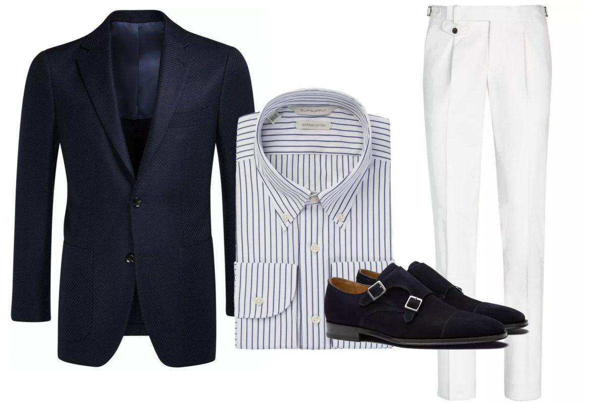 Holiday Attire for Men - Blazer & Cream Trousers