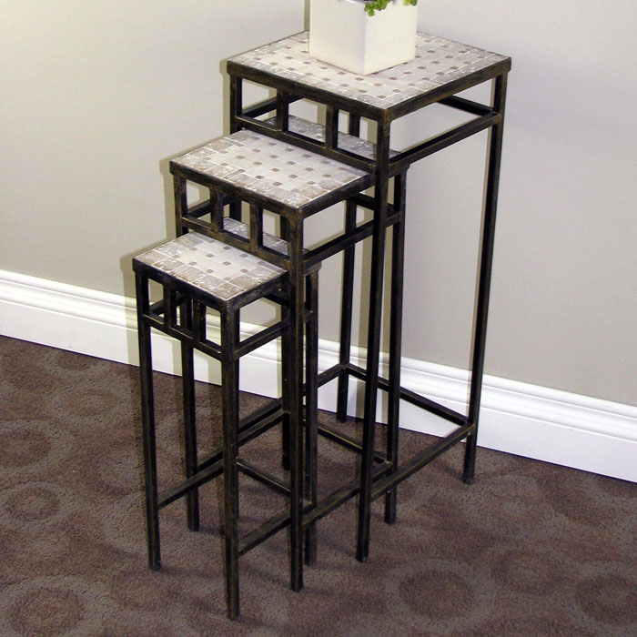3 Piece Square Plant Stands Travertine Tops Metal Bases