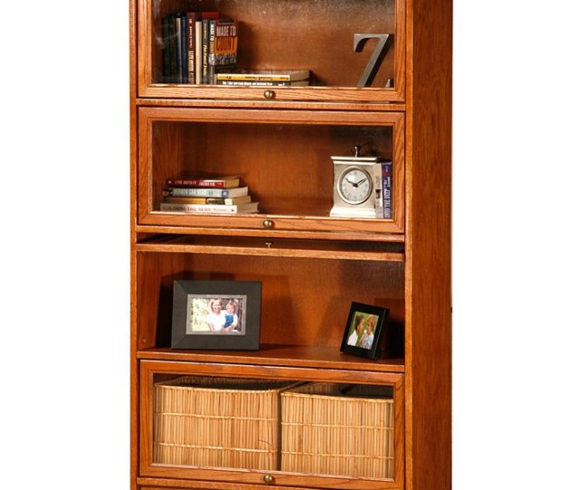 Classic Oak Promo 4 Tier Lawyer Bookcase Glass Doors Egl 05334