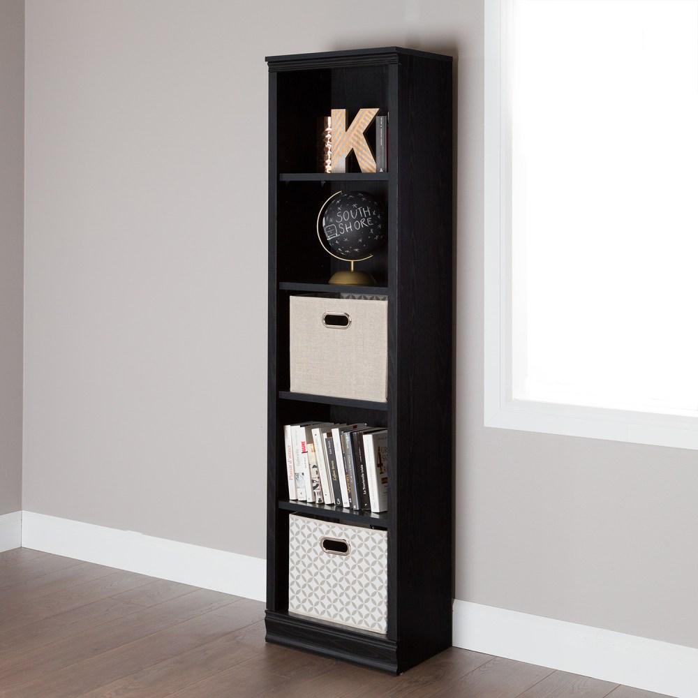 Morgan 5 Shelves Narrow Bookcase Black Oak DCG Stores