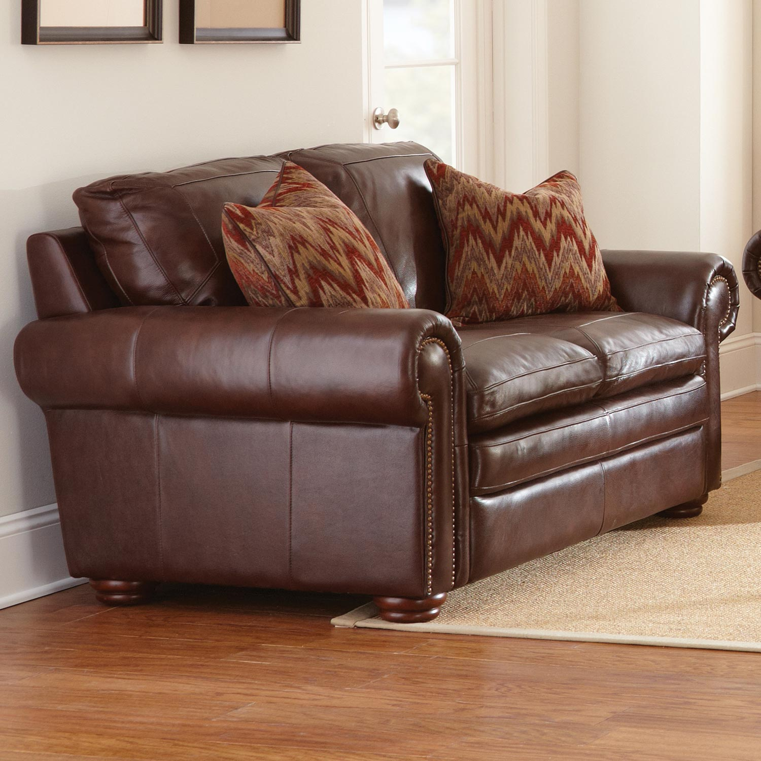 yosemite leather sofa loveseat chair set akron chestnut