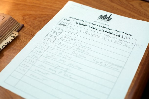 Guided notes provided by the HSW help keep track of who lived in a particular house - and when.