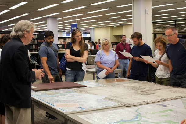 HSW member Don Hawkins lent his expertise in historic maps, guiding one of the workshop stations at the D.C. Public Library's Special Collections.