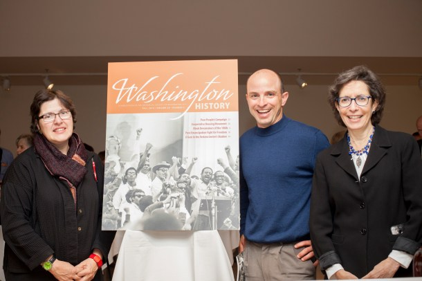 Designer Debra Naylor, Editor Chris Myers Asch and Managing Editor Jane Freundel Levey toasted the contributors of Washington History at a members reception this Fall.