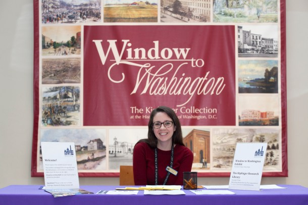 HSW volunteer Sarah Bordeaux, a graduate student studying exhibition design, welcomed participants to the Society's exhibit.