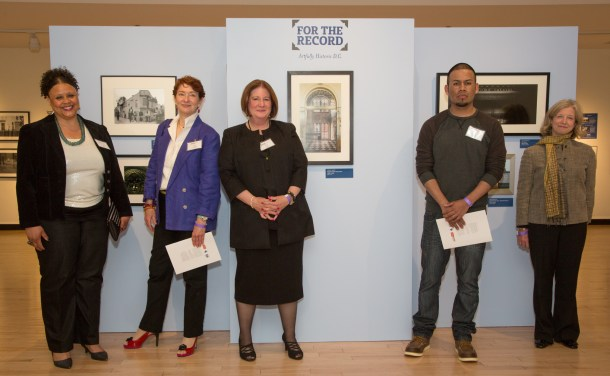 The top five works from the competition, seen here with their creators, became part of the Historical Society's collection. The other 70 works are up for auction through May 27 at http://www.32auctions.com/fortherecord