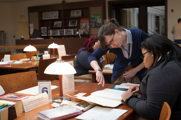 Research Services Librarian Laura Barry works closely with the students before, during, and after their visits to the Kiplinger Research Library.