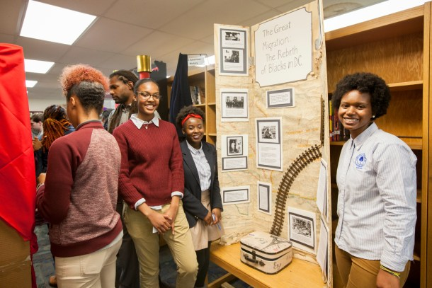 Student research conducted in the Kiplinger Research Library helps inform year-long projects, such as National History Day presentations at the SEED Public Charter School.