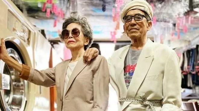 casal de idosos de Taiwan estiloso