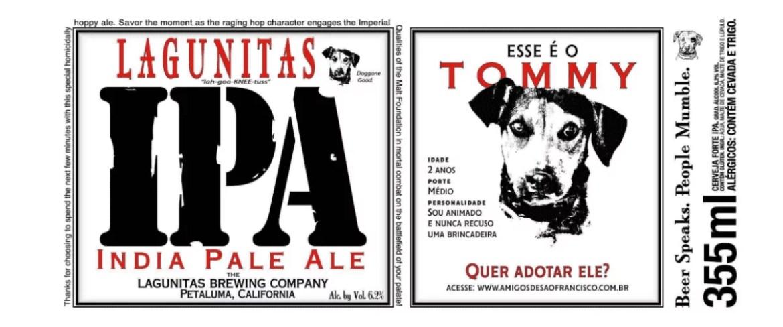 Rótulo da cerveja IPA da Lagunitas, mostrando os dados para a doação do cachorro Tommy - marcas de cerveja artesanal