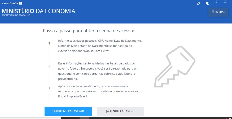 Plataforma para solicitação do seguro-desemprego