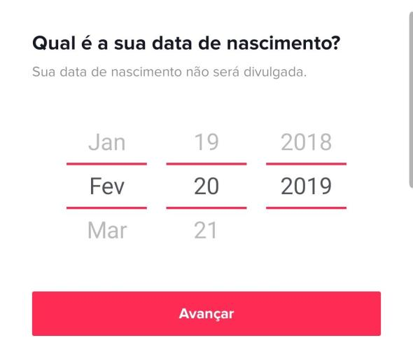 Imagem com dia mês e ano dentro do aplicativo TikTok