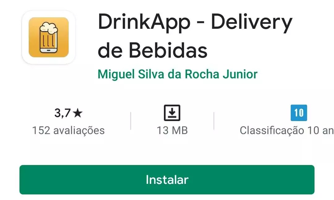 Imagem mostra a pagina do DrinkApp na play store