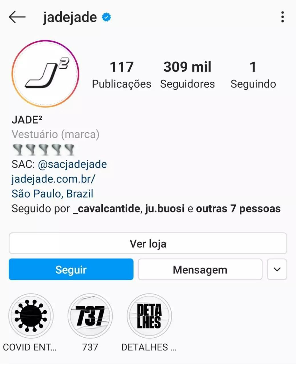 Imagem mostra o perfil no Instagram da página Jade ao quadrado