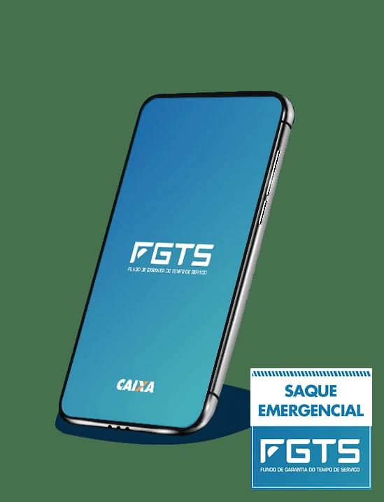 celular com tela azul e ao centro logotipo do FGTS. No canto direito inferior há um aviso com a frase: Saque emergencial