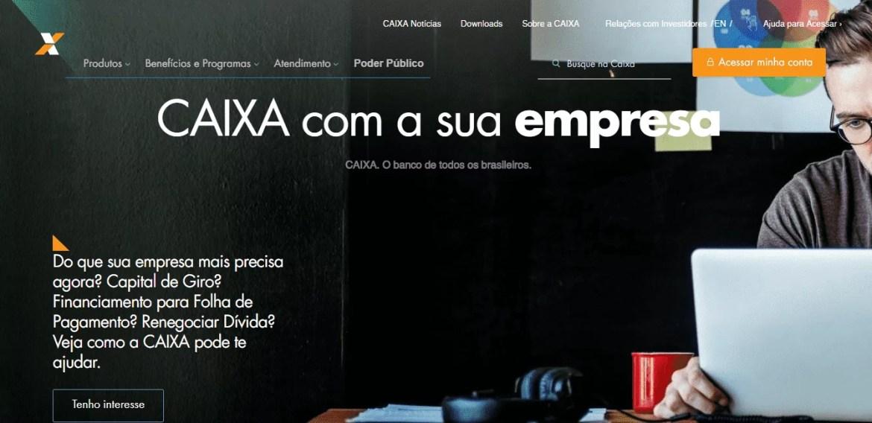 página inicial do site Caixa para solicitação do Pronampe