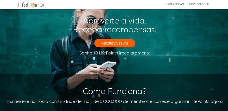 Página inicial do site de pesquisa LifePoints
