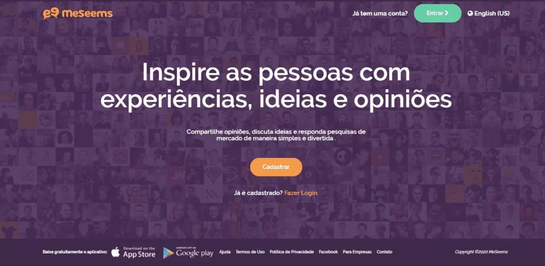 Página inicial do site de pesquisa MeSeems