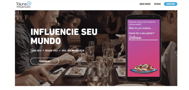 Página inicial do site de pesquisa Toluna