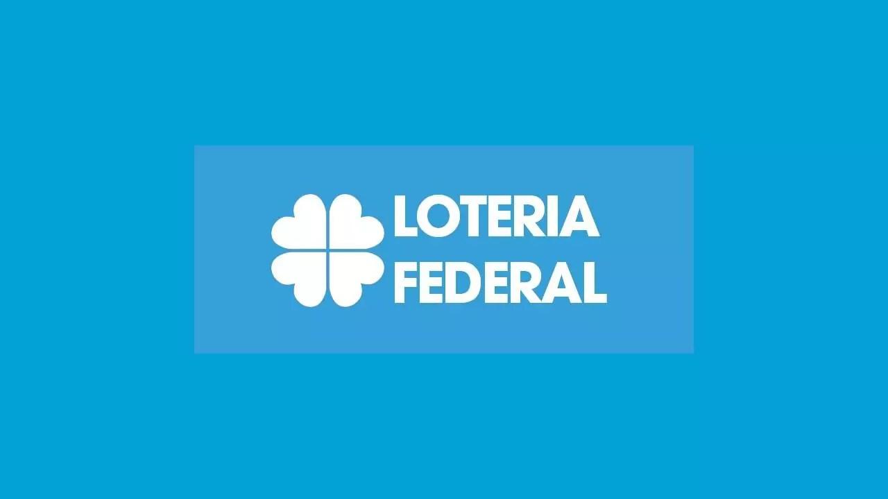 """Resultado Loteria Federal - a imagem mostra o escrito """"Loteria Federal"""" em destaque no fundo azul"""