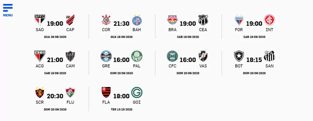 Tabela da 11ª rodada Campeonato Brasileiro