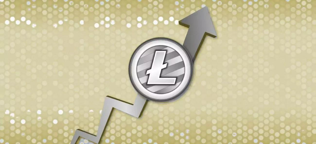 logotipo do litecoin em uma moeda prateada com seta de gráfico subindo, fundo amarelado