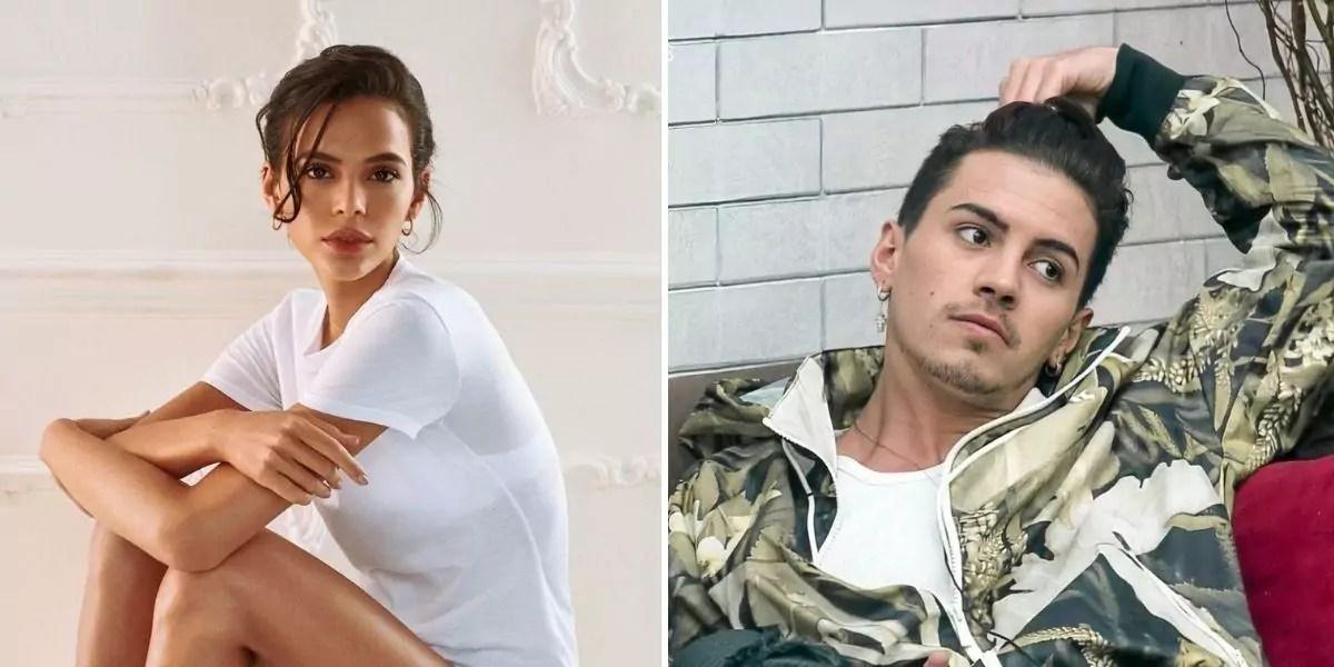 Imagem duvidida em duas com Bruna Marquezine na primeira foto e Biel na segunda