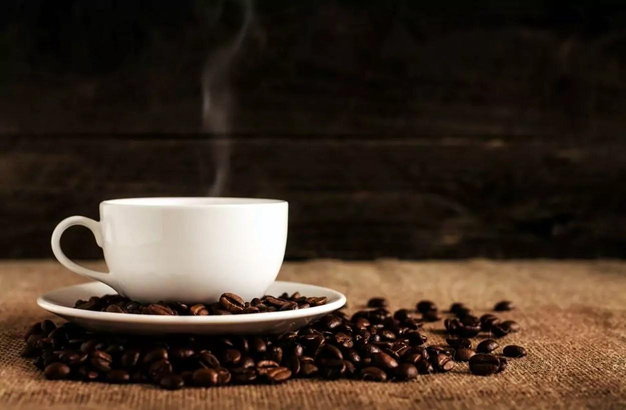 Xícara e grãos de café gourmet