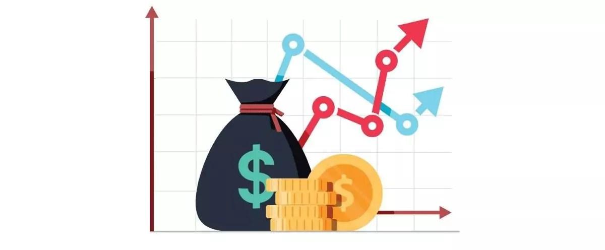 sacola com símbulo do dólar, moedas, e gráfico de performance dos fundos multimercados